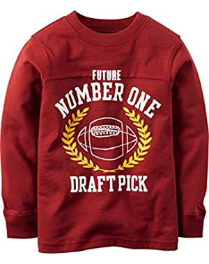 Carter's Boy L/s Football Tee; Rust Red