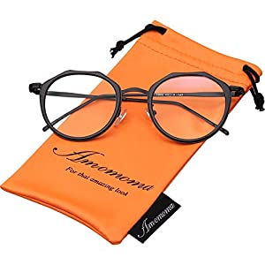Amomoma Vintage Optical Eyewear Non-prescription Eyeglasses Frame with Clear Lenses AM5016 With Black Frame/Black Temple