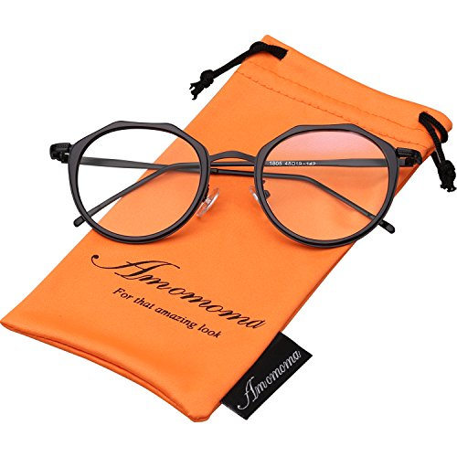 Amomoma Vintage Optical Eyewear Non-prescription Eyeglasses Frame with Clear Lenses AM5016 With Black Frame/Black - Prescription Glasses Trends