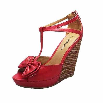SendIt4Me Black/Blue Satin High Heel Wedge Sandals u530b