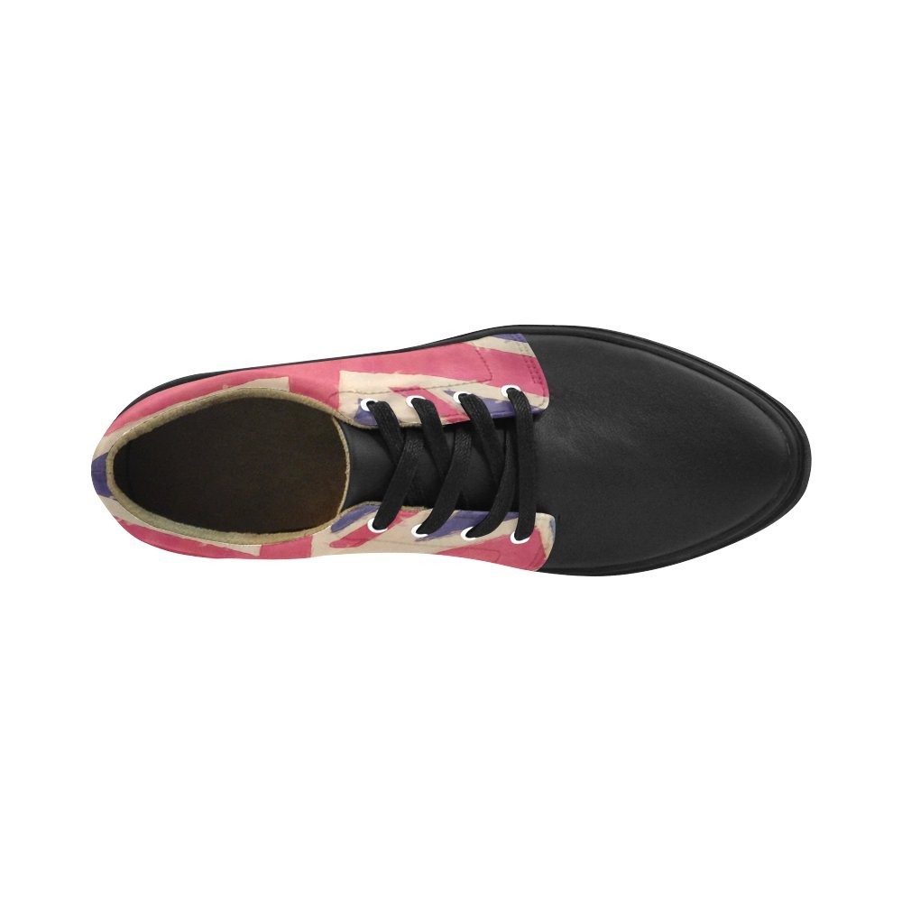 Lace Up Womens Shoes British Union Jack Flag Womens Leather Fashion Sneakers
