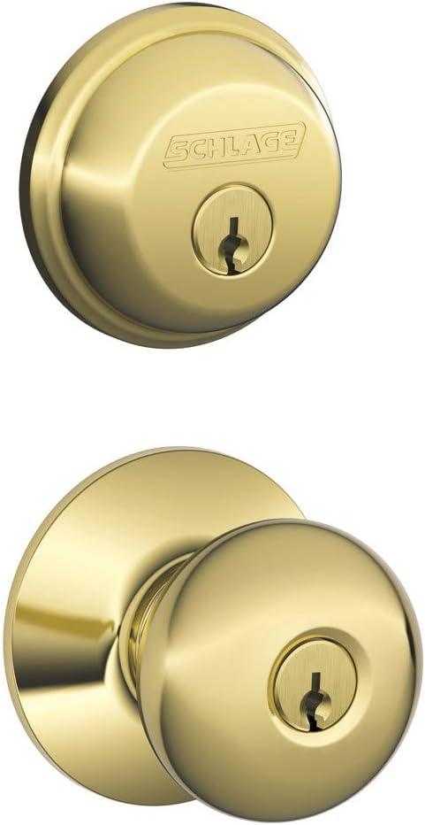 Keys Schlage F51 PLY 605 Entry Lock in Bright Brass