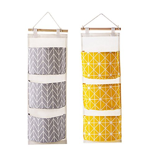 Over the Door Closet Organizer, 2 Packs Wall Hanging Storage Bags with 3 Pockets for Bedroom & Bathroom (Yellow + Gray) (Hanging Wall Door)