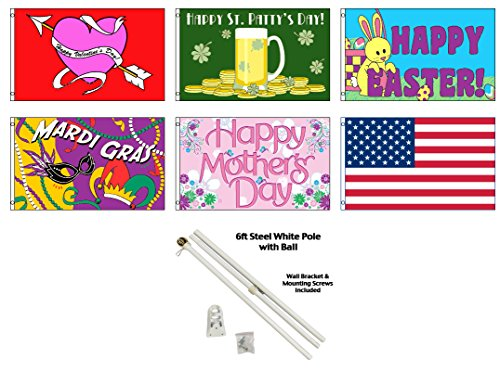 Seasonal Holiday House and Garden Decorative Flag Bundle - Spring / Summer - Size 3x5 - Set of 7 with Pole)