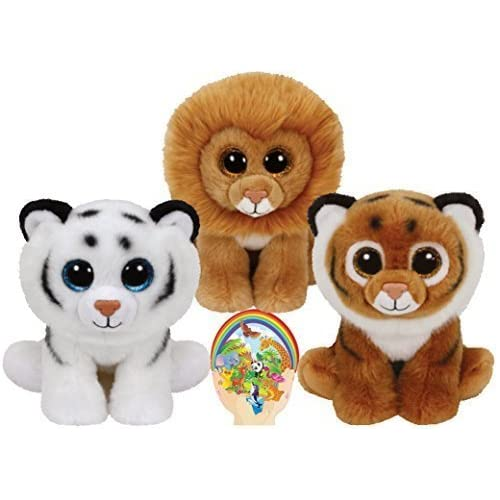 Ty Beanie Babies Tigers Tiggs and Tundra and Louie the Lion Gift set of 3 Plush Toys 6-8 inches tall with Bonus Animals...