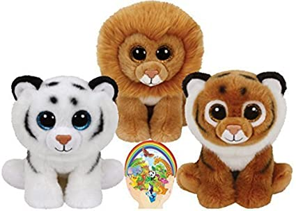 6c5e72f9bcd Image Unavailable. Image not available for. Color  Ty Beanie Babies Tigers  Tiggs and Tundra and Louie the Lion ...