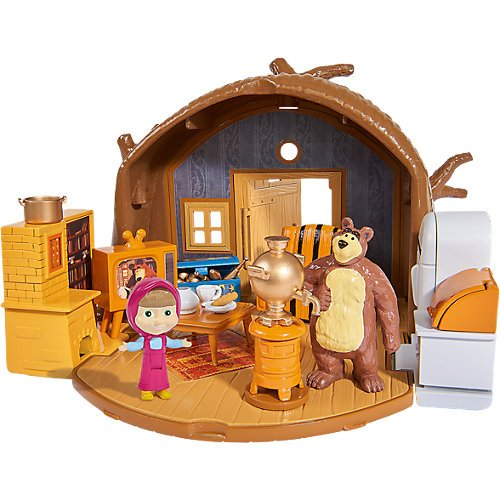 [RusToyShop] Dollhouse Masha and the Bear Baby Gift Figurines Game Miniatures Play Birthday Masha's House Playset from RusToyShop