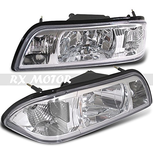 ZMAUTOPARTS Replacement Headlights with Corner Signal Lamps Chrome//Amber For 1997-2003 Ford F-150//1997-2002 Expedition