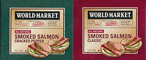 Pepper Smoked Alaskan Salmon - Filled Cracked Pepper | Well-Packed and Ready to Serve for Traveling, Hiking, and Camping | Wild Caught Salmon | Rich in Healthy Omega 3 | 8 Ounces by World Market