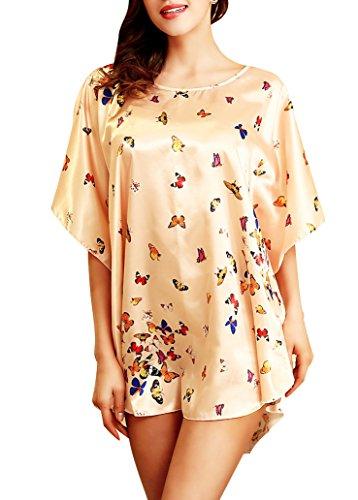 Butterfly Pajamas Sleepwear (Aensso Women's Gorgeous Dress Satin Pajamas Sexy Sleepwear & Batwing Sleeve Nightgown (Beige butterfly))