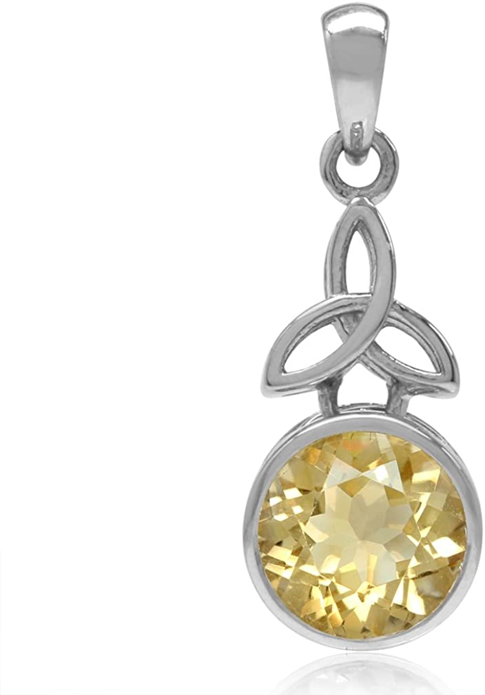 9MM Natural Round Shape Citrine 925 Sterling Silver Triquetra Celtic Knot Pendant 2.43ct