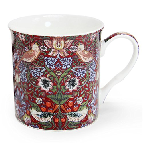 12 oz Flower Pattern Ceramic Coffee Mug, Momugs Pretty Tree Bird Tea Porcelain Cup for Girl as A Gift, Red