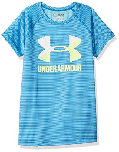 - Under Armour Girls' Novelty Big Logo Short Sleeve T-Shirt,Venetian Blue /Pale Moonlight, Youth Large