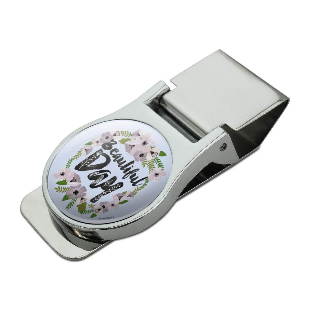 Beautiful Day Flowers Wedding Bridal Shower Satin Chrome Plated Metal Money Clip