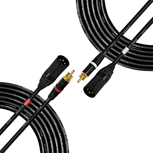 Pair Xlr Interconnect Cable (20 Foot - RCA to XLR (Male) Cable Pair - Canare L-4E6S Star-Quad Audio Interconnect Cable & Neutrik-Rean NYS RCA & Neutrik Male XLR Gold Plugs - CUSTOM MADE By WORLDS BEST CABLES)