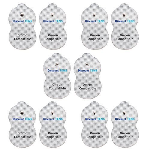 Omron Replacement Electrode Pads - 5 Pairs (10 Pads) - Omron Compatible Long Life Electrodes - Discount TENS Brand