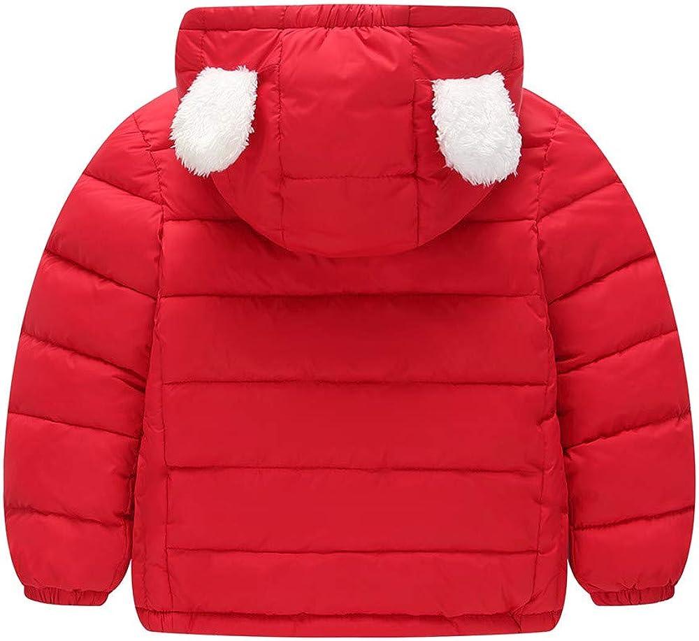 Franterd Little Girls Boys Light Jacket with Plush Lining Kids Zipper Hooded Coat Cloak Warm Windproof Snowsuit