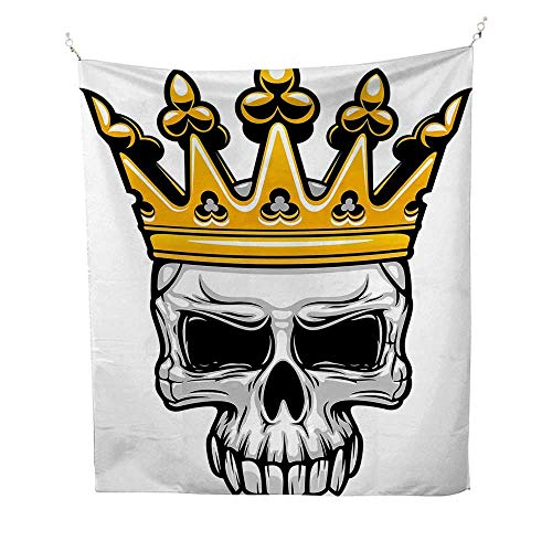 King Queen Sizefunny tapestryHand Drawn Crowned Skull Cranium with Coronet Tiara Halloween Themed Image 60W x 80L inch Quote tapestryGolden and Light Grey ()
