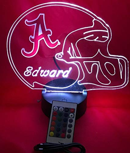 - Alabama Crimson Tide NCAA College Football Helmet Light Up Lamp University of Alabama Table Lamp LED, Our Newest Feature - It's Wow, with Remote 16 Color Options, Dimmer, Free Engraving, Great Gift