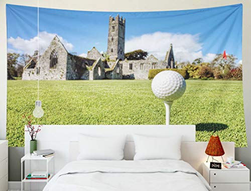 Franciscan Tapestry - KIOAO Tapestry Wall Hanging, 80x60 Inches Golf Ball The Idyllic Golf Course Abbey in Background Ireland Adare Franciscan Large Map Dorm Home Bedroom Living Room Art Wall Tapestries