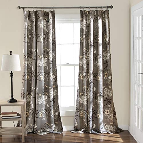 Lush Decor Botanical Garden Curtains Floral Bird Print Room Darkening Window Panel Drapes Set