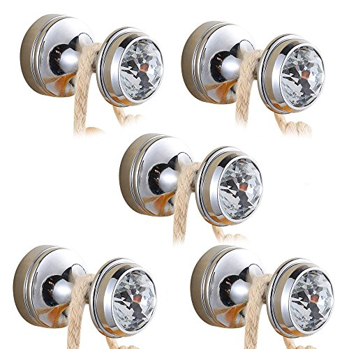 BigBig Home Crystal Decorative Wall Hooks Towel Hook, Chrome Finish Brass Coat Hook Hangers Wall Mounted.(Silver, Pack of 5)