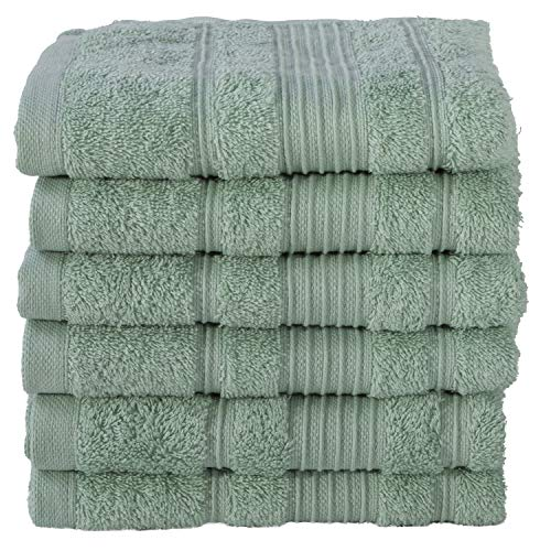6 Pack Hand Towels Set Premium Quality | Thirsty Absorbent Soft & Plush Turkish Cotton - Teal Green