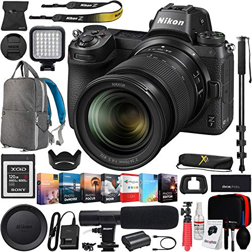 Nikon Z7 Mirrorless FX-Format Full-Frame 4K Ultra HD Camera Body with NIKKOR Z 24-70mm f/4 S Lens Kit and Deco Gear Backpack Cleaning Kit Microphone Editing Suite Bundle