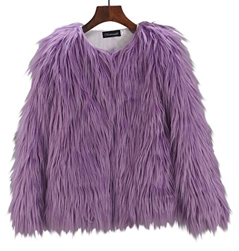Aishang Women's Solid Collarless Shaggy Faux Fur Coat Jacket Outwear Tops Purple