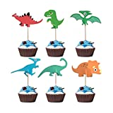 Colybecation 48cps Dinosaur Cupcake Muffin Topper Picks Cake Decoration Baby Shower Birthday Party Favors