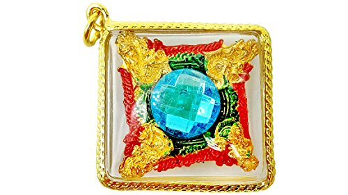 Naga snake eating tail eye gems blue color gold case rich success powerful life protection
