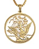 Navy Challenge Coin Pendant & Necklace, Challenge Coin Hand Cut