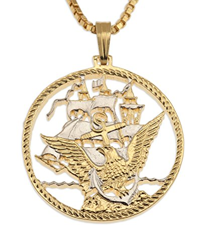 Eagle Sailing Ship - Navy Challenge Coin Pendant & Necklace, Challenge Coin Hand Cut