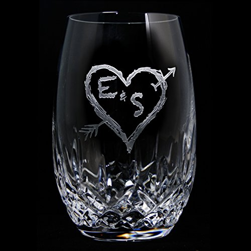 Lismore Nouveau White Wine - Waterford Crystal Lismore Nouveau White Stemless Wine Glass Engraved PAIR