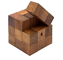 Snake Cube: Handmade & Organic Serpent Cube 3D Brain Teaser Wooden Puzzle for Adults from SiamMandalay with Free SM Gift Box(Pictured)