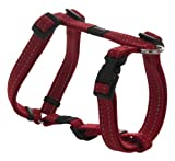 Reflective Adjustable Dog H Harness for Medium Dogs; matching collar and leash available, Red
