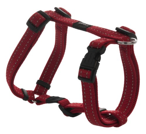 Reflective Adjustable Dog H Harness for Small to Medium Dogs; matching collar and leash available, Red
