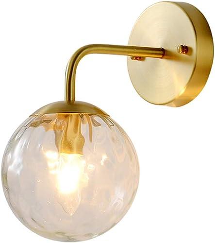 Modo Lighting 1-Light Globe Wall Sconces Brass Modern Bedside Lamp Glear Glass Shade Wall Mounted Fixture
