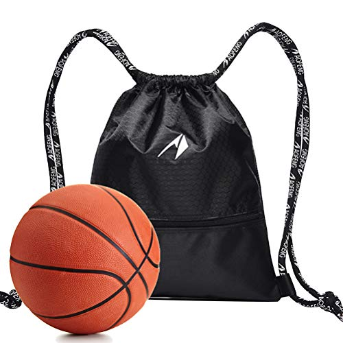 LIOOBO Bolso con cordón de Baloncesto Mochila Deportiva Bolso Deportivo Unisex Soporte de Pelota de Baloncesto para Mujeres y Hombres (Tamaño Grande Negro) por LIOOBO