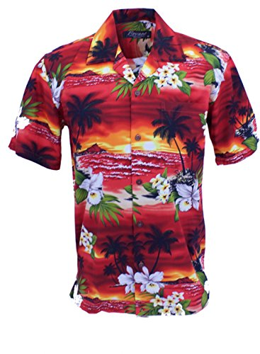 Tropical Luau Beach Floral Sunset Print Shirt (X-Large, Red) (Sunset Tropical Print)