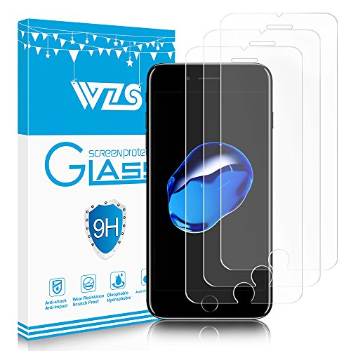 WZS iPhone 6, 6S, 7, 8 Screen Protector, [3-Pack] Premium Tempered Glass with 99.99% HD Clarity and 3D Touch Accuracy, Tempered Glass Screen Protector for iPhone 8, iPhone 7,iPhone 6, 6S [4.7 inch]