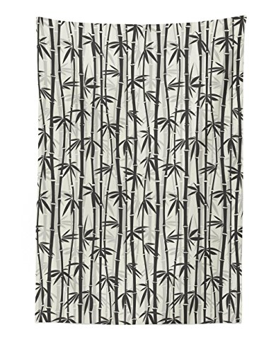 Lunarable Asian Tapestry, Bamboo Pattern Silhouette Tropical Forest Jungle Flourishes Modern Simple, Fabric Wall Hanging Decor for Bedroom Living Room Dorm, 30 W X 45 L inches, Charcoal Grey Coconut