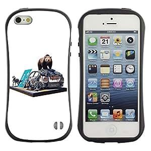 Hybrid Anti-Shock Bumper Case for Apple iPhone 5 5S / Bear & Zebra On The Street