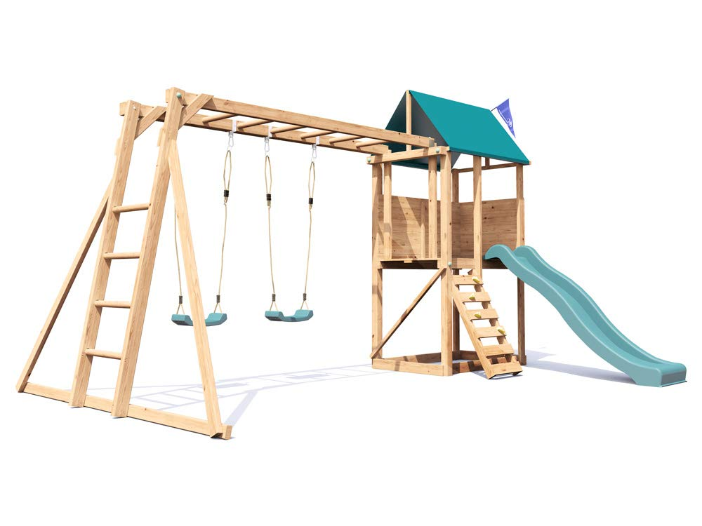 Dunster House SquirrelFort Climbing Frame Monkey Bars with Playhouse ...