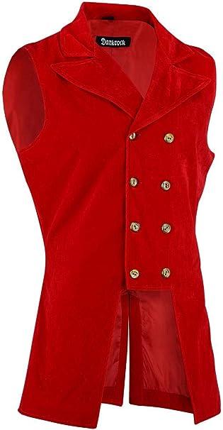 Darkrock Mens Double Breasted Governor Vest Waistcoat VTG Brocade Gothic Steampunk//Jacket
