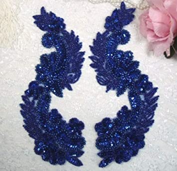 0180 ~ BLUE MIRROR PAIR SEQUIN BEADED APPLIQUES SEWING CRAFT MOTIFS 8.25/""