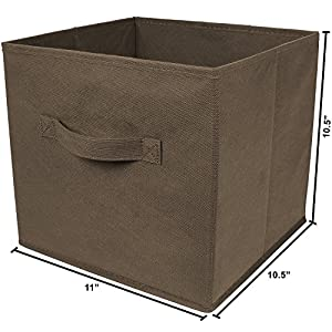 Greenco Foldable Storage Cubes Non-woven Fabric -6 Pack-(Brown)