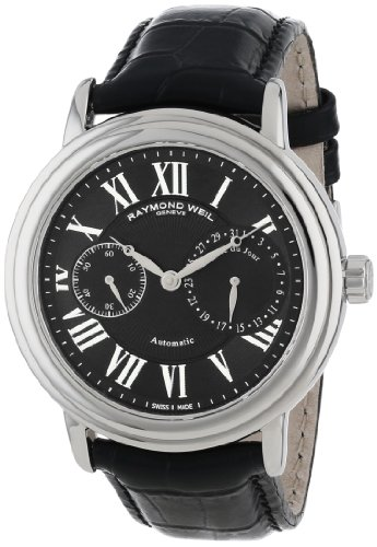 Raymond Weil Black Wrist Watch (Raymond Weil Men's 2846-STC-00209 Maestro Stainless Steel Automatic Watch With Black Faux-Leather)