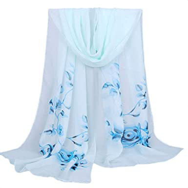 Mode femmes Long écharpe douce enveloppement Mesdames coloré fleur châle  foulard en mousseline de soie pas 1c77eee7e89