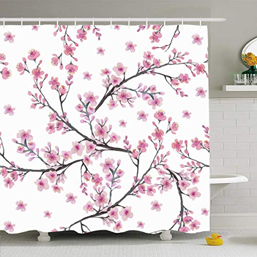 Ahawoso Shower Curtain 66x72 Inches Branch Watercolor Pattern Cherry Blossom Flowers Nature Bouquet Green Abstract Apple Apricot Bloom Waterproof Polyester Fabric Set with Hooks